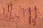 High Gallery of Barrier Canyon Style pictographs, painted and decorated figures 900 to 4,000+ years old,, of unknown spiritual meaning, in Horseshoe Canyon of Canyonlands National Park, Utah, USA