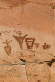 Detail of Horseshoe Shelter Gallery of Barrier Canyon Style pictographs, painted and decorated figures 900 to 4,000+ years old,, of unknown spiritual meaning, in Horseshoe Canyon of Canyonlands National Park, Utah, USA