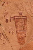 Detail of The Great Gallery of Barrier Canyon Style pictographs, intricately painted and decorated figures 900 to 4,000+ years old,, of unknown spiritual meaning, in Horseshoe Canyon of Canyonlands National Park, Utah, USA