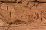 The Great Gallery of Barrier Canyon Style pictographs, painted and decorated figures 900 to 4,000+ years old,, of unknown spiritual meaning, in Horseshoe Canyon of Canyonlands National Park, Utah, USA