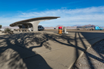 Futuristic concrete structure at the Wendover Salt Flats Rest Area along Interstate 80 where the highway crossed the Bonneville Salt Flats, Utah, USA