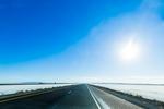 Crossing the Bonneville Salt Flats on Interstate 80, Utah, USA