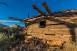 Kirk's Cabin, built as a seasonal shelter by a rancher, with adzed logs , in Salt Creek Canyon in The Needles District of Canyonlands National Park, Utah, USA