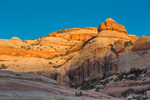 Sunset on the sandstone formations from Campsite 1 in Salt Creek Canyon in The Needles District of Canyonlands National Park, Utah, USA