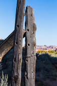 Old wooden fence once maintained by a rancher, near Kirk's Cabin within Salt Creek Canyon in The Needles District of Canyonlands National Park, Utah, USA