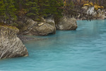 Vermilion River, blue-green with glacial flour, flows through a rocky riverbed behind the Kootenay Park Lodge at Vermilion Crossing, Kootenay National Park, British Columbia, Canada, October, 2008_CN_6137