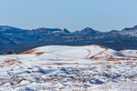 Dune landscape after a spring snowfall, with ATV tracks, in Coral Pink Sand Dunes State Park, Utah, USA