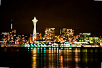 Space Needle and Seattle skyline at night viewed from one of the Washington State ferries crossing Elliot Bay of Puget Sound, Washington, USA, Seattle_Skyline-8
