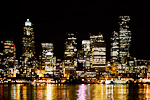 Seattle skyline at night viewed from one of the Washington State ferries crossing Elliot Bay of Puget Sound, Seattle, Washington, USA, Seattle_Skyline-11