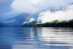 Rainbow and tattered clouds after a winter rain along Lake Crescent, with cottages and homes along the northwest end of the lake, Olympic National Park, Washington, USA, February, Olympic_Park_Lake_Crescent-6326