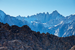 Mount Whitney in the Sierra Nevada Mountains, the highest peak in the lower 48 states, towering above the Alabama Hills Recreation Area near Lone Pine, California, USA, Alabama_Hills_BLM-18