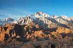 Morning light on Lone Pine Peak in the Sierra Nevada Mountains towering above the granite of the Alabama Hills, Alabama Hills Recreation Area near Lone Pine, California, USA, Alabama_Hills_BLM-84