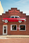 Peggy Sue's Good Eats, a 1950s themed restaurant with good food and a section of a '57 Chevy on the front, in Mount Ayr in south-central Iowa, USA, 2008_IA_0397   (NO PROPERTY RELEASE)