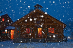 Mount Assiniboine Lodge in snowstorm at twilight, warmly lit for guests, Mount Assiniboine Provincial Park, British Columbia, Canada, Mount_Assiniboine_Lodge-30