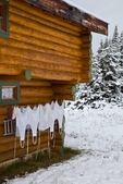 Kitchen laundry drying on a snowy day outside Mount Assiniboine Lodge; Mount Assiniboine Provincial Park, British Columbia, Canada, Mount_Assiniboine_Lodge-52