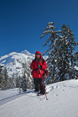 Karen Rentz with Mt. Shuksan distant, at Austin Pass, near the Mt. Baker Ski Area, Mt. Baker-Snoqualmie National Forest, North Cascade Mountains, Washington State, USA,  Artist_Point_Winter-47