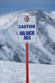 Sign warning of avalanche hazard on Hurricane Ridge, Olympic National Park, Washington State, USA, Hurricane_Ridge_Winter-3