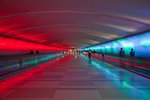 The Light Tunnel connecting Concourse A with Concourses B and C in the McNamara Terminal, Detroit Metro Airport (Designed by Mills James Productions with creative visual and audio art by Foxfire Glass Works and Victor Alexeeff), Detroit, Michigan, USA, [NO MODEL RELEASE], Detroit_Airport-55