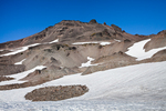 Old Snowy towers above a snowfield along the Pacific Crest Trail in the Goat Rocks Wilderness, Gifford Pinchot National Forest, Cascade Mountains, Washington State, USA, September, Goat_Rocks-17