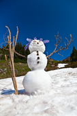 Snowman created on a remnant snowfield along the Pacific Crest Trail, using natural materials such as lupine for hair and Mountian Hemlock cones for buttons, Snowgrass Flats, Goat Rocks Wilderness, Gifford Pinchot National Forest, Cascade Mountains, Washington State, USA, September, Goat_Rocks-37