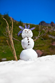 Snowman created on a remnant snowfield along the Pacific Crest Trail, using natural materials such as lupine for hair and Mountian Hemlock cones for buttons, Snowgrass Flats, Goat Rocks Wilderness, Gifford Pinchot National Forest, Cascade Mountains, Washington State, USA, September, Goat_Rocks-61