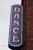 Dance sign advertising the Crystal Ballroom, now owned by McMenamins, in downtown Portland, Oregon, USA, Portland_Downtown-9 [Photographer's Note: the location in this photograph is not property released, meaning that the photo may be licensed for editorial applications only-no commercial use]