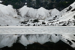 Snow on the lower slopes of Mt. Pilchuck and ice on Lake Twentytwo in the Cascade Mountains, Mt. Baker-Snoqualmie National Forest, Washington State, USA, Lake_22_Trail-23