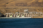 Rock Island Dam, a hydroelectric dam in the Columbia River operated by Chelan County PUD, near Wenatchee in eastern Washington State, viewed from the Amtrak Empire Builder, USA, Empire_Builder-374
