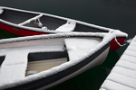Red canoe and rowboat, dusted with fresh overnight snow, on the tranquil surface of Lake O'Hara at a dock for guests of Lake O'Hara Lodge, Yoho National Park, British Columbia, Canada, Yoho_Lake_OHara_Lodge-36