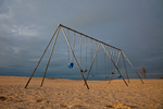 Swing set in beach playground along Lake Michigan in Holland State Park, Holland, Michigan, USA, Holland_State_Park-6