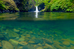 Split underwater and above water view of Punchbowl Falls and Eagle Creek along the Eagle Creek Trail, Columbia River Gorge National Scenic Area, Oregon, USA.