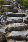 Old stone steps are some of the bits of evidence that the railway hamlet town of Wellington once stood here, along the Iron Goat Trail near Stevens Pass, Mt. Baker - Snoqualmie National Forest, Cascade Mountains, Washington State, USA.