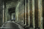 Hauntingly beautiful ruins of the abandoned All-Concrete Snowshed, built just after the Wellington Disaster, when an avalanche hit the Great Northern Railway in 1910, now the route of the Iron Goat Trail near Stevens Pass, Mt. Baker - Snoqualmie National Forest, Cascade Mountains, Washington State, USA.