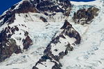 Detail of Tahoma Glacier on Mount Rainier viewed from summit of Mount Beljica in Glacier View Wilderness of Gifford Pinchot National Forest, Washington State, USA.