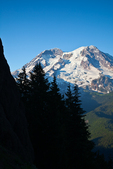 Mount Rainier and Tahoma Glacier viewed from trail near summit of Gobblers Knob in Mount Rainier National Park, Washington State, USA.
