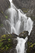 Waterfall along Royal Creek, high in the cirque of Royal Basin, Olympic National Park, Washington State, USA.
