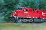 Engine of a Canadian Pacific Railway freight train racing across British Columbia, Canada [No Property Release: to be licensed for editorial use only]