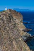 Anacapa Island Lighthouse stands atop the high headlands of East Anacapa Island, Channel Islands National Park, Callifornia, USA