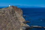 Anacapa Island Lighthouse stands atop the high headlands of East Anacapa Island, Channel Islands National Park, Callifornia, USA