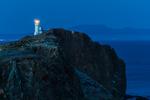 Anacapa Island Lighthouse at deep twilight on East Anacapa in Channel Islands National Park, California, USA