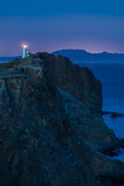 Anacapa Island Lighthouse at deep twilight on East Anacapa in Channel Islands National Park, California, USA