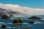 The sea stacks of Cuffey's Cove, a classic view in Mendocino County of the Pacific Coast, viewed from SR 1, California, USA
