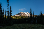View of Mt. Adams from a subalpine meadow in the Killen Creek Camp area along the Pacific Crest Trail and Highline Trail, Mt. Adams Wilderness, Gifford Pinchot National Forest, Cascade Mountains, Washington State, USA