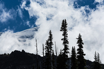 Dramatic light and clouds on Mt. Adams, as seen from the intersection of the Killen Creek Trail with the Pacific Crest and Highline Trails, in the Mt. Adams Wilderness, Gifford Pinchot National Forest, Cascade Mountains, Washington State, USA