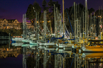 Boats moored in Inner  Noyo Harbor near the mouth of the Noyo River at night, Fort Bragg, California, USA [NOTE: for editorial licensing only; no property releases available]