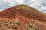 Eroded formation along the Red Scar Knoll Trail in the Painted Hills Unit of John Day Fossil Beds National Monument, located near Mitchell, Oregon, USA