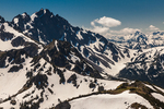 Mount Constance and other rugged peaks in Olympic National Park viewed from the lower slopes of Buckhorn Mountain in the Buckhorn Wilderness, Olympic Mountains, Olympic National Forest, Olympic Peninsula, Washington State, USA