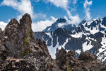 The rugged terrain around Warrior Peak in Olympic National Park viewed from the scramble up Buckhorn Mountain in the Buckhorn Wilderness, Olympic National Forest, Olympic Mountains, Olympic Peninsula, Washington State, USA