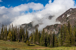 Looking across the valley of Copper Creek to the mountains towering above, viewed from Buckhorn Pass in the Buckhorn Wilderness, Olympic National Forest, Olympic Mountians, Olympic Peninsula, Washington State, USA