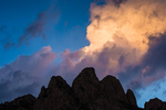 Morning Clouds Illuminated over Rabbit Ears, viewed from Aguirre Spring Campground in Organ Mountains-Desert Peaks National Monument in the Chihuahuan Desert near Las Cruces, New Mexico, USA
